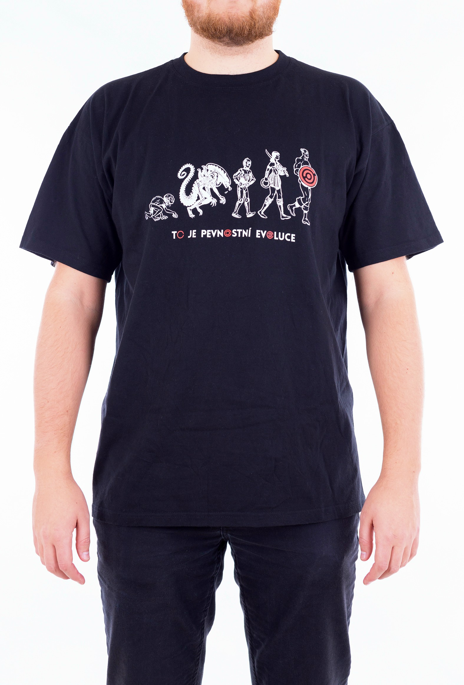 Pánské tričko Evoluce - červené - 1